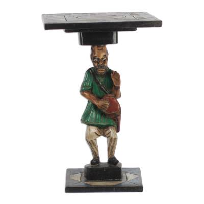 Cedar Wood Accent Table of an African Drummer from Ghana