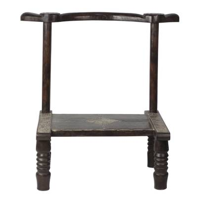 Wood decorative stool, 'Guro Festivity' - Handcrafted Guro Decorative Wood Stool from Ghana