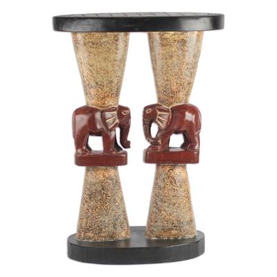 Elephant-Themed Cedar Wood Accent Table from Ghana