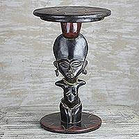 Wood accent table, 'Feminine Figure' - Cedar Wood Acent Table with Recycled Glass Beads from Ghana