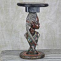 Wood accent table, 'Beautiful Obaa' - Cedar Wood Accent Table Depicting a Woman from Ghana