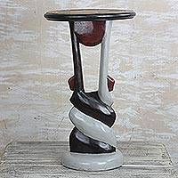 Wood accent table, 'African Twist' - Twist Motif Cedar Wood Accent Table Crafted in Ghana