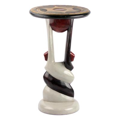 Twist Motif Cedar Wood Accent Table Crafted in Ghana