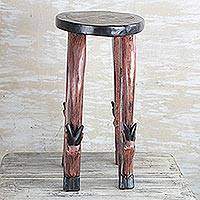 Wood accent table, 'Antelope Glory' - Antelope-Themed Cedar Wood Accent Table from Ghana