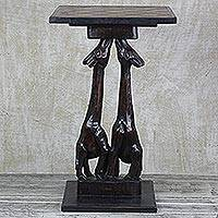 Wood accent table, 'Watch My Back' - Handcrafted Giraffe Cedar Wood Accent Table from Ghana