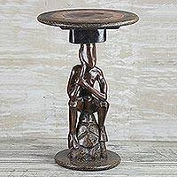 Cedar wood accent table, 'Thoughtful Man' - Cedar Wood Accent Table of a Sitting Man from Ghana