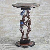 Cedar wood accent table, 'Familial Love' - Cedar Wood Accent Table of Two People from Ghana