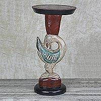 Wood accent table, 'Supporting Sankofa' - Cedar Wood Sankofa Accent Table from Ghana