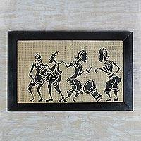 Wood relief panel, 'Drumming and Dancing' - Sese Wood Relief Panel of a Music Scene from Ghana