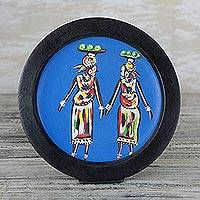 Wood decorative plate, 'Orange Sellers' - Hand-Painted Wood Decorative Plate from Ghana