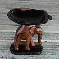 Ebony wood mini catchall, Elephant Carrying a Leaf'