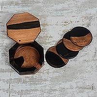 Ebony wood coasters, 'Shifting Earth' (set of 4)