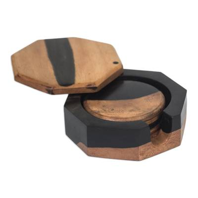 Ebony wood coasters, 'Shifting Earth' (set of 4) - Handcrafted Ebony Wood Coasters from Ghana (Set of 4)
