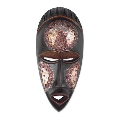 Black Sese Wood and Aluminum African Wall Mask from Ghana