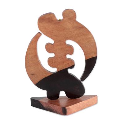 Ebony wood statuette, 'Elegant Gye Nyame' - Ebony Wood Gye Nyame Adinkra Statuette from Ghana