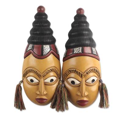 African Wood Twin Masks from Ghana (Pair)
