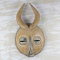 African wood mask, 'Yellow Gazelle' - Yellow Sese Wood African Mask with Horns from Ghana