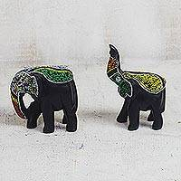 Recycled glass beaded wood figurines, 'Eco Elephants' (pair) - Recycled Glass Beaded Wood Elephant Figurines (Pair)