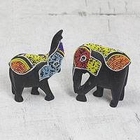 Recycled glass beaded wood figurines, 'Embellished Elephants' (pair) - Recycled Glass Beaded Wood Elephant Figurines (Pair)
