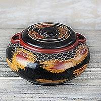 Wood decorative jar, 'Sunset Storm' - Handcrafted Red Yellow and Black Decorative Wood Jar