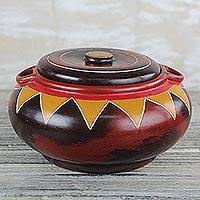Wood decorative jar, 'Sunshine Rays' - Red and Yellow Sun Ray Motif Decorative Wood Jar with Lid