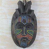 African beaded wood mask, 'Spirit of Africa' - Handcrafted Sese Wood and Recycled Glass Beads Wall Mask