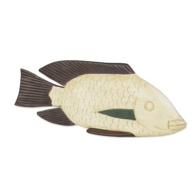 Hand-Carved Sese Wood Fish Sculpture from Ghana