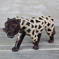 Wood sculpture, 'Spotted Tiger' - Sese Wood Sculpture of a Tiger with Spots from Ghana