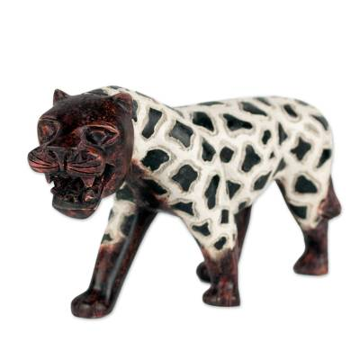 Sese Wood Sculpture of a Tiger with Spots from Ghana