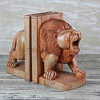 Wood bookends, 'Between the Lions' - Sese Wood Lion Bookends Crafted in Ghana