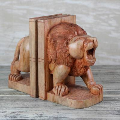 Sese Wood Lion Bookends Crafted in Ghana, 'Between the Lions'
