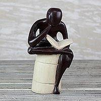 Wood sculpture, 'Thoughtful Reader' - Sese Wood Sculpture of a Reading Person from Ghana