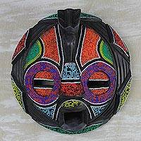 African beaded wood mask, 'Colorful Face' - Beaded Wood Bird-Themed Mask from Ghana