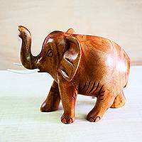 Wood sculpture, 'Adorable Elephant' - Hand-Carved Neem Wood Elephant Sculpture from Ghana