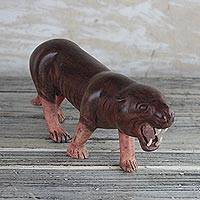 Wood sculpture, 'Roaring Leopard' - Mahogany Wood Leopard Sculpture from Ghana