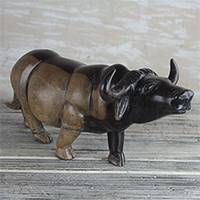 Mahogany wood sculpture, 'Lowing Water Buffalo' - Mahogany Wood Water Buffalo Sculpture from Ghana