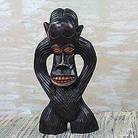 Wood sculpture, 'Mischievous Monkey' - Hand-Carved Sese Wood Monkey Sculpture from Ghana
