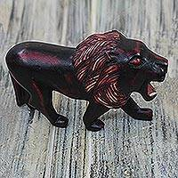 Wood sculpture, 'Maroon Lion' - Sese Wood Lion Sculpture in Maroon from Ghana