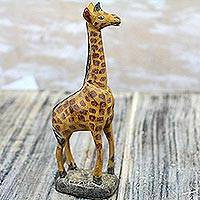 Wood sculpture, 'Tall Giraffe' - Hand-Carved Sese Wood Giraffe Sculpture from Ghana
