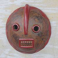 African wood mask, 'Foresee' - Round Brown and Red African Wood Wall Mask from Ghana