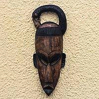 African wood mask, 'Sankofa Man' - Sankofa Motif Golden Brown Wood Decorative Wall Mask
