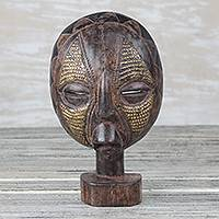 African wood mask, 'Mask of Focus' - Sese Wood and Brass Tabletop African Mask from Ghana