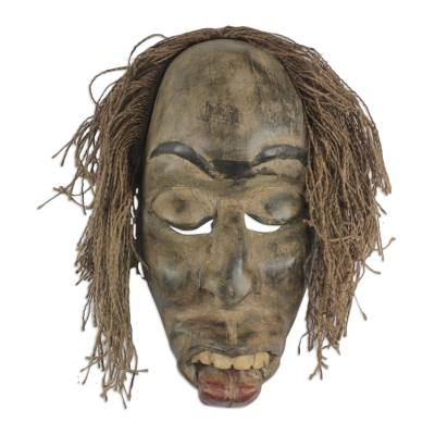 African wood mask, 'Friendly Kwagyei' - Rustic African Wood and Jute Mask from Ghana