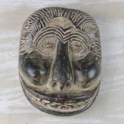 African wood mask, 'Grinning Gorilla' - African Sese Wood Gorilla Mask Crafted in Ghana