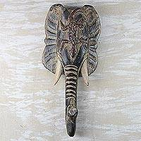 African wood mask, 'Lizard and Elephant' - African Wood Lizard and Elephant Mask from Ghana