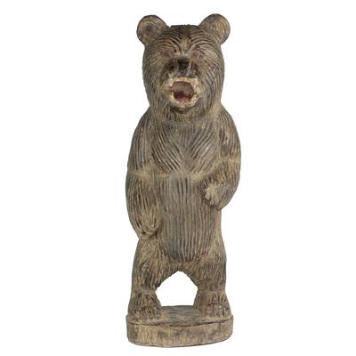 Hand-Carved Rustic Wood Bear Sculpture from Ghana (11 in.)