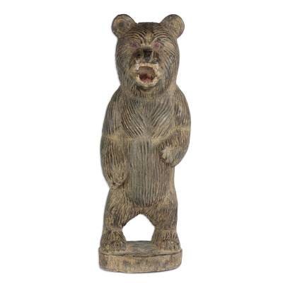 Hand-Carved Rustic Wood Bear Sculpture from Ghana (18.5 in.)
