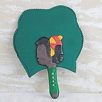 Wood and cotton fan, 'It Takes Two' - Handcrafted Green Wood and Cotton Fan from Ghana