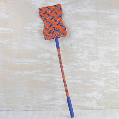 Cotton and wood fan, 'Blue Bundles' - Blue and Orange Cotton and Wood Long Fan from Ghana