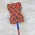 Cotton and wood fan, 'Blue Bundles' - Blue and Orange Cotton and Wood Long Fan from Ghana (image 2b) thumbail